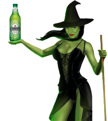 Witch with beer