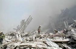 fireman in ruins