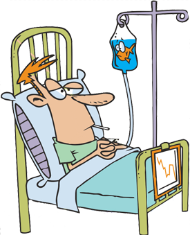 in hospital bed - vector