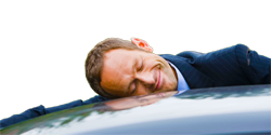 man hugging car